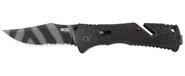 SOG Trident Serrated Tiger Stripe Folding Knife TF3-CP 729857003360