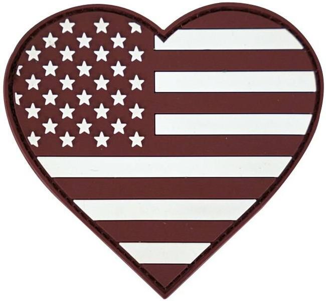 LA Police Gear Maroon Heart Flag Patch PATCH-MAROONHEART