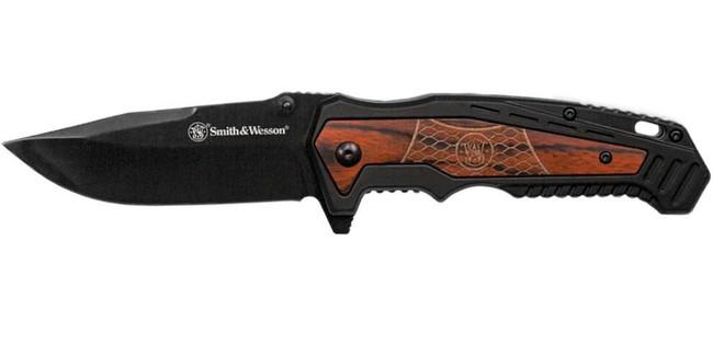SandW Folding Knife with Wood Rubberized Handle 1085959 661120414810