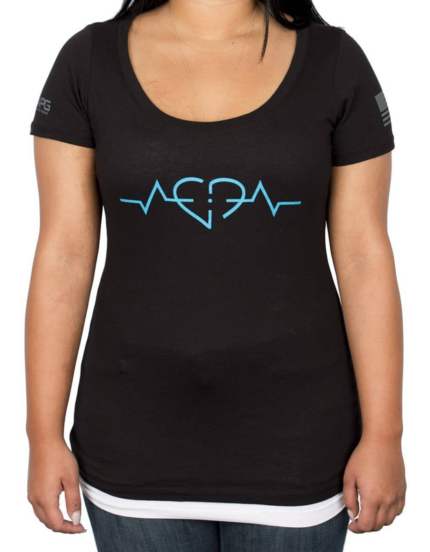 LA Police Gear Womens Heartbeat Lifeline Scoop T- Shirt WHE02