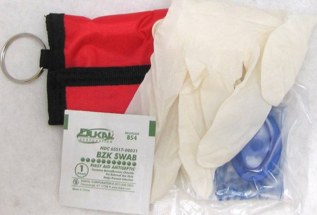 Elite First Aid CPR Mask W/Pouch, Gloves and Wipe 6051