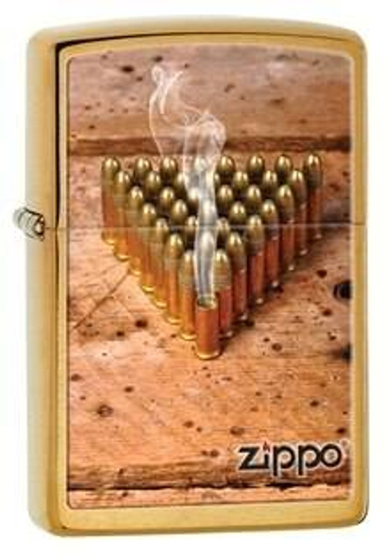 Zippo Windproof Brushed Brass Bullets Lighters 28674