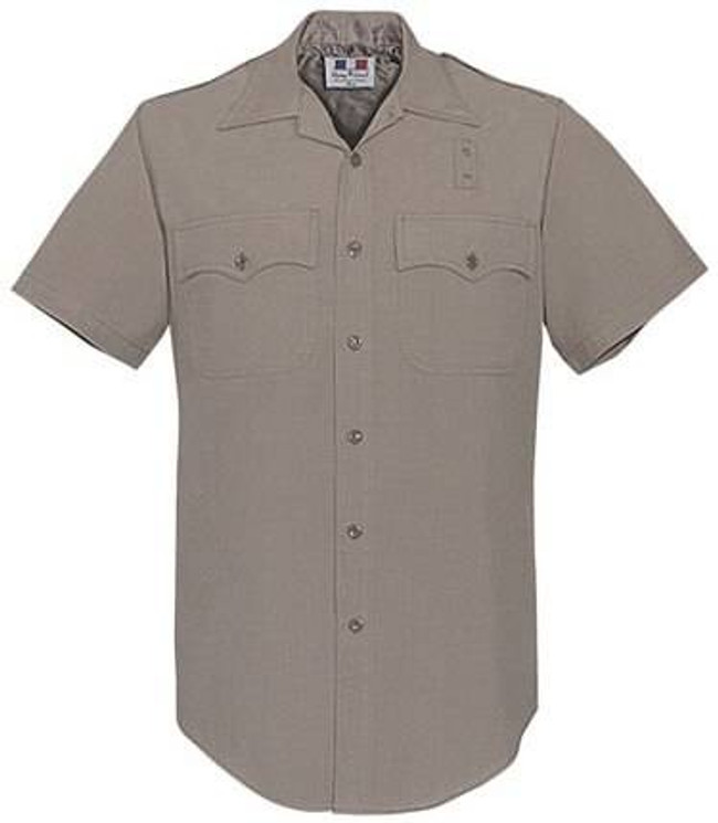 Flying Cross Mens Silver Tan CHP Poly/Wool Short Sleeve Shirt 790R97