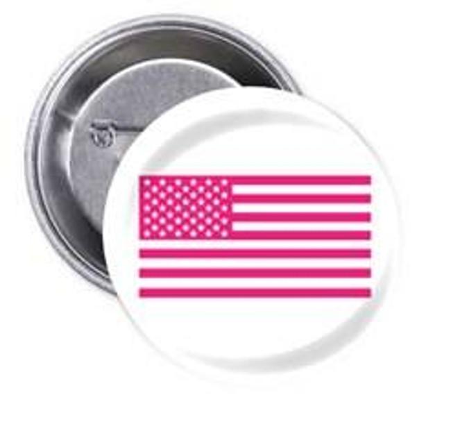 LA Police Gear Pink US Flag Flair Button 1 FLAIR-PKFLAG