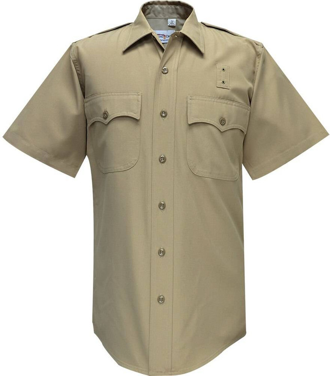 Flying Cross Deluxe Tropical 65percent Poly/35percent Rayon Mens Silver Tan Short Sleeve Shirt 90R65