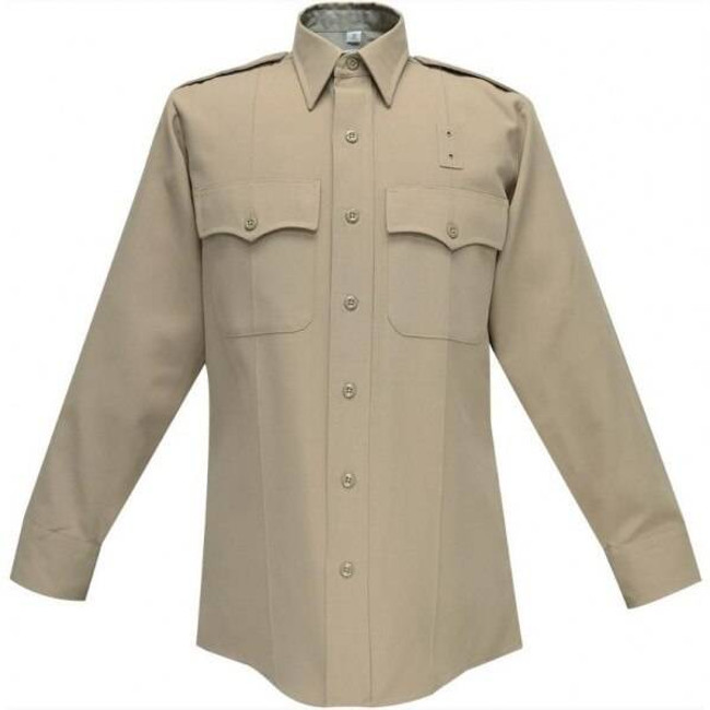 Flying Cross Mens Silver Tan CHP Poly/Wool Long Sleeve Shirt 440W97