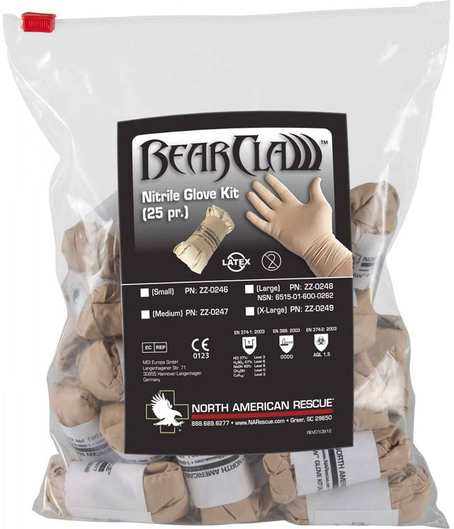 North American Rescue Bear Claw Glove Kit 25 pcs BCGK
