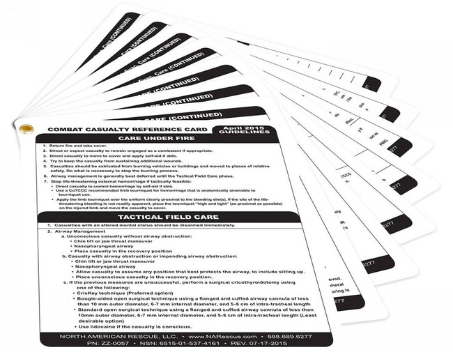 North American Rescue Combat Casualty Reference Card ZZ-0057