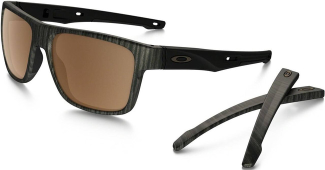 Oakley Crossrange Woodgrain Sunglasses with Prizm Tungsten Polarized Lenses OO9361-0757