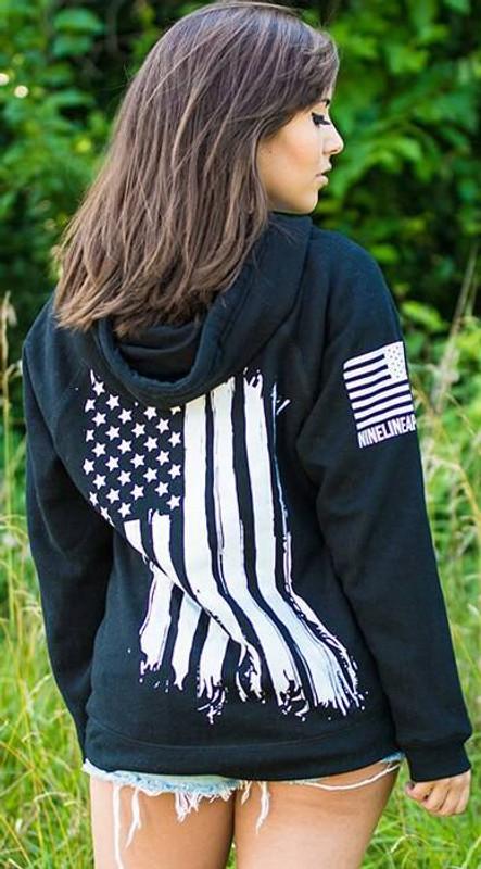 Nine Line America Womens V-Neck Hoodie AMERICA-WVH