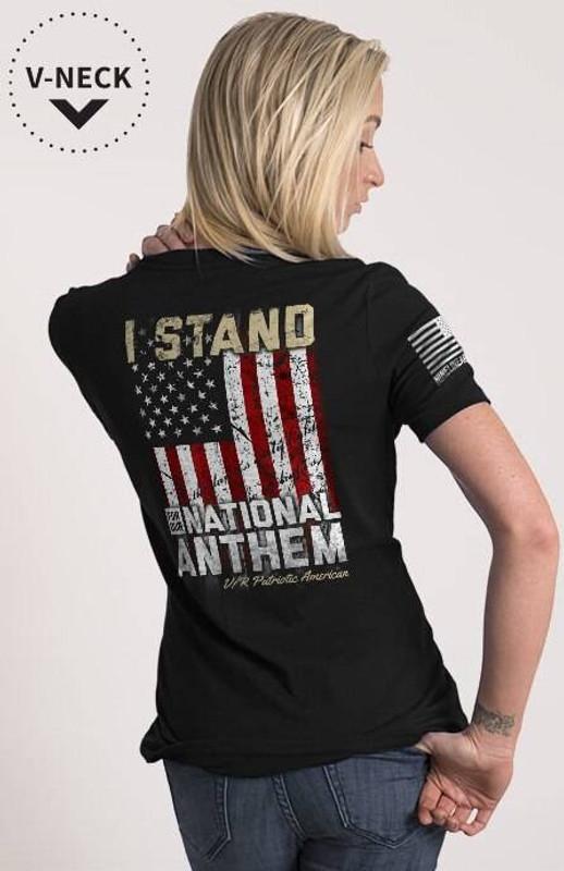 Nine Line I Stand Womens Relaxed Fit V-Neck Shirt STANDV2-WRVN