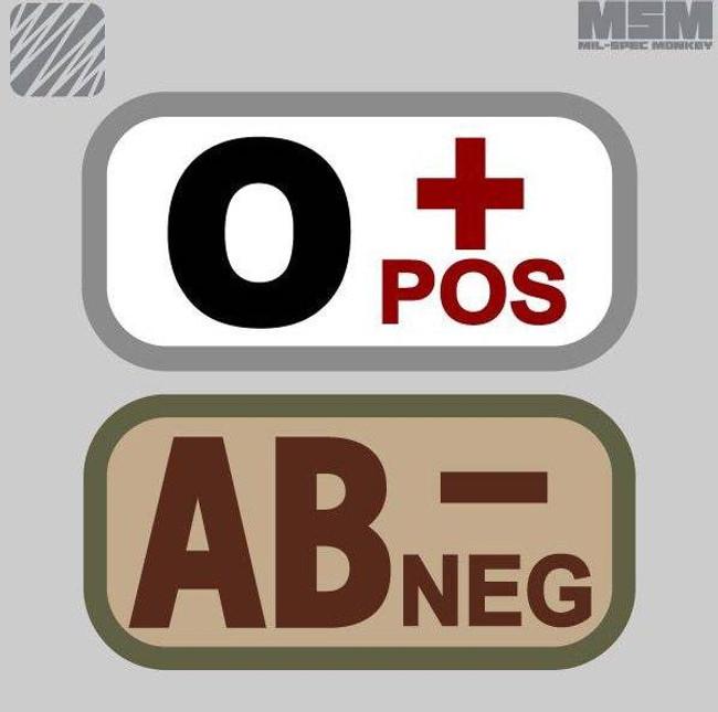 Mil-Spec Monkey Bloodtypes Patch BLOODTYPES - LA Police Gear