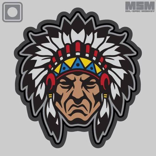 Mil-Spec Monkey Native American Head PVC Patch NATIVEHEAD