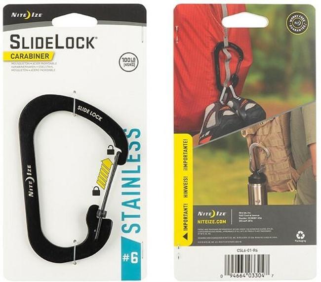 Nite Ize SlideLock Stainless Steel Carabiner #6 - Black