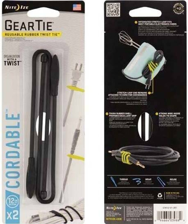 Nite Ize Gear Tie Cordable Twist Tie 12 - 2 Pack GTK12