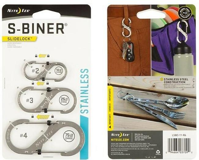 Nite Ize S-Biner SlideLock Stainless Steel Combo 3 Pack - Stainless