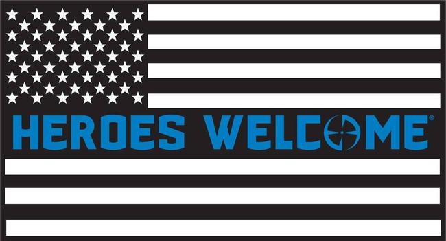 LA Police Gear Large Heroes Welcome Blue Flag 5.7 x 3 Sticker FLAGSTICKER-HWBL