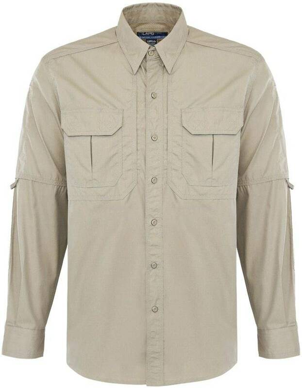 LA Police Gear Mens Long Sleeve Tactical Field Shirt 2.0 LS-FIELD - Khaki