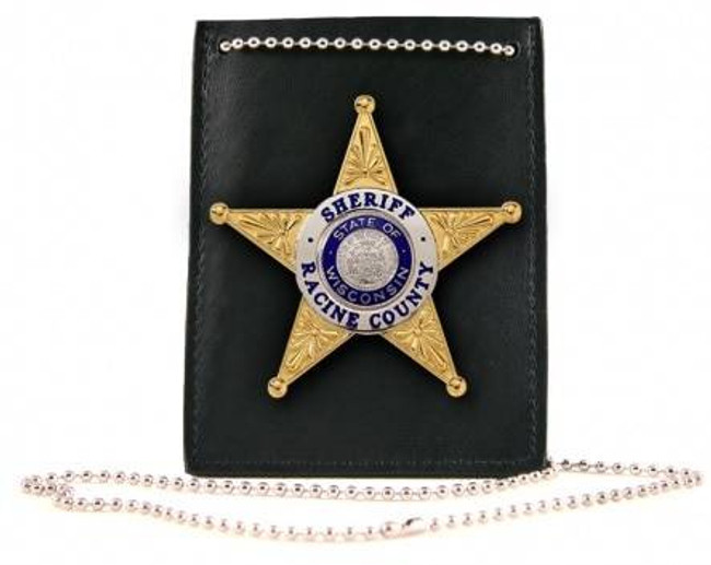 Boston Leather Neck Chain ID and Badge Holder 5845-1 192375129049
