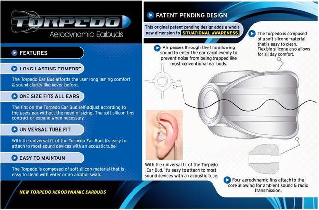 Earphone Connection Torpedo Aerodynamic Earbuds 3 Pack EP-TP1 812226022328