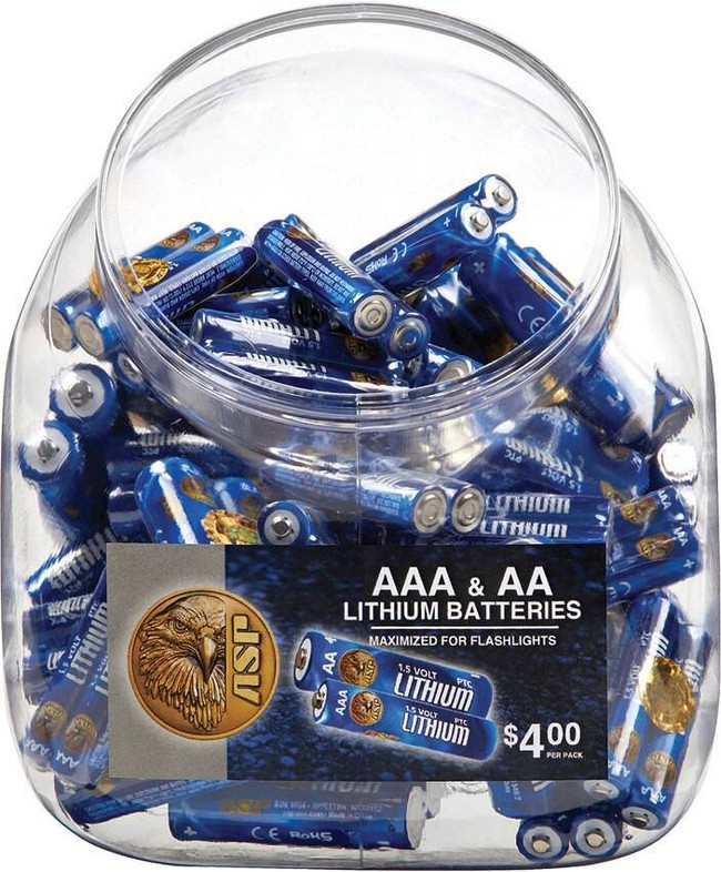 ASP AAA and AA Batteries 50 Each and Bin Counter Display 81920 092608819207