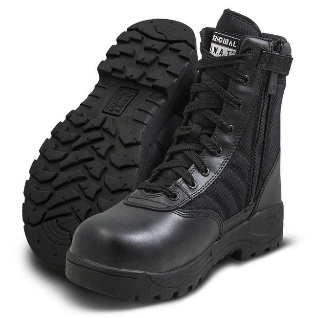"""Original S.W.A.T. Classic 9"""" Black Side-Zip Safety Plus Boot"""
