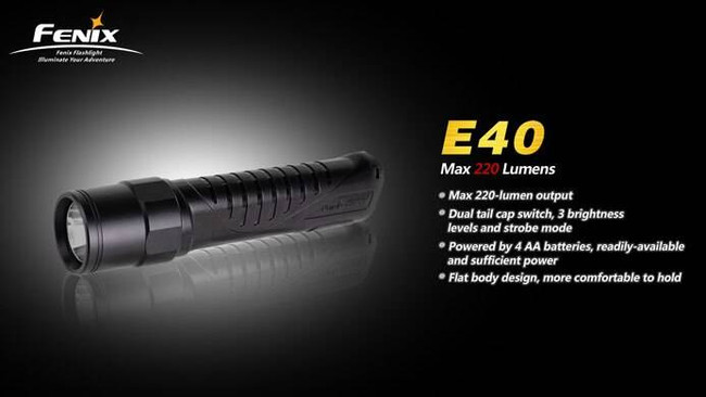 Fenix Lighting E40 220 Lumen High Performance Outdoor Flashlight E40 6942870301389