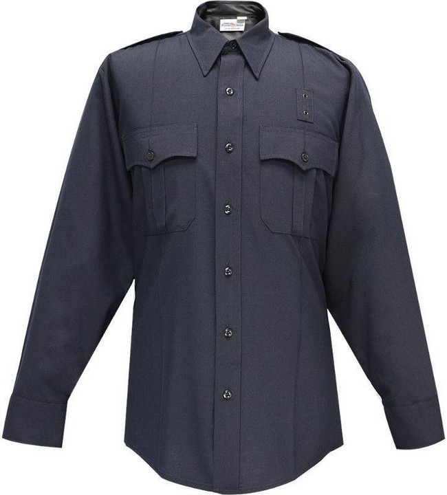 Flying Cross LAPD Navy Justice 75percent Poly/25percent Wool Mens Long Sleeve Shirt with Zipper 07W84Z