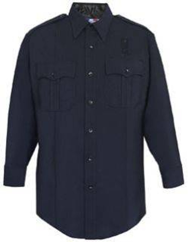 Flying Cross LAPD Navy 74percent Poly/25percent Wool/1percent Lycra Mens Long Sleeve Shirt with Zipper 07W89Z