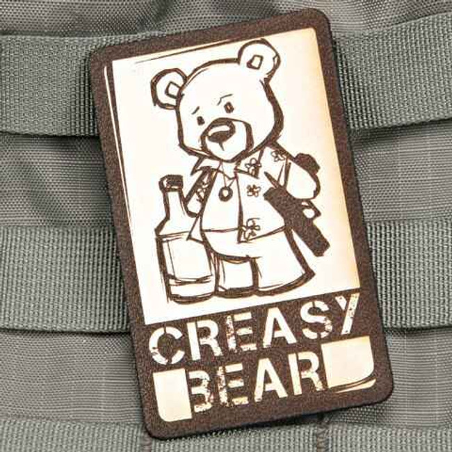 Tactical Outfitters Creasy Bear Violent Little Machine Shop Leather Patch LEATHER-CREASY
