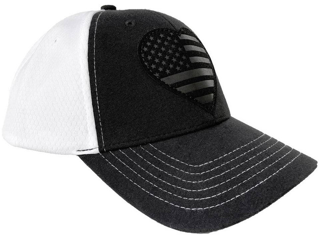 LA Police Gear Subdued Leather Heart Flag Patch Hat SUBLHFPH