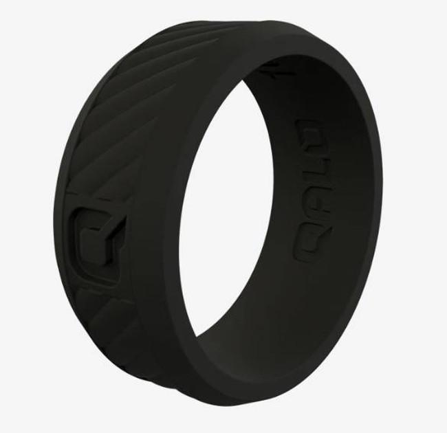 Qalo Mens Traverse Black Silicone Ring QS9-MDB