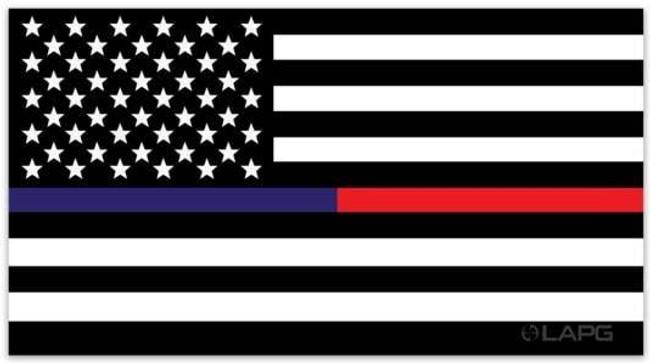 LA Police Gear XLarge Thin Red Line - Thin Blue Line Flag 6.75 x 3.5 Sticker FLAGSTICKER-TBRL-XL