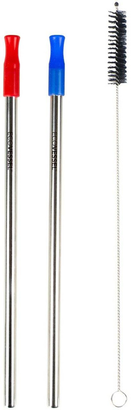 Eco Vessel Set of 2 Stainless Steel Reusable Metal Straws with Silicone Tips STRWW8-3BR