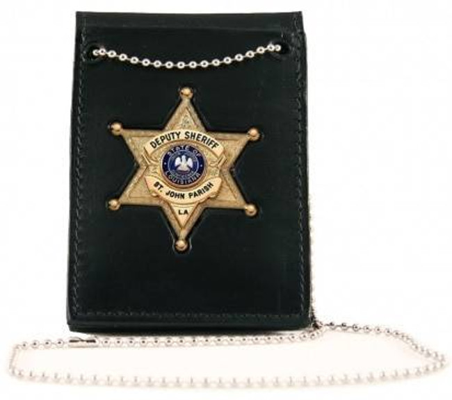 Boston Leather Full Grain Leather Deluxe Neck Chain ID Holder with Recessed Badge 450DX-BO