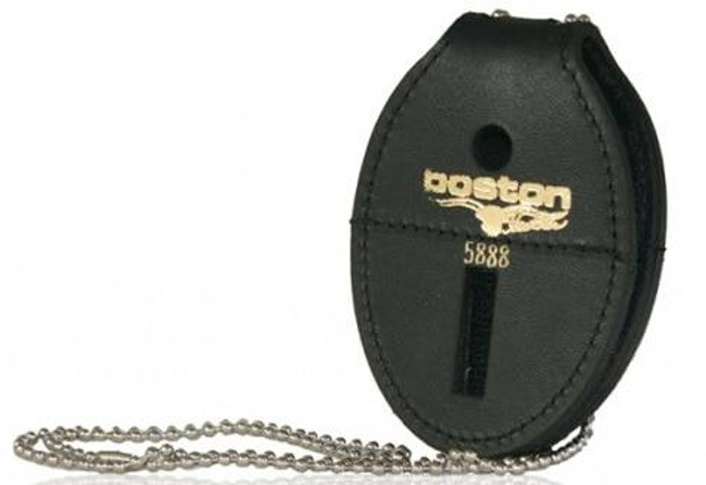 Boston Leather Oval Badge Holder with Hook and Loop Closure and Chain 5888DX-BO