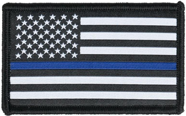 LA Police Gear Woven Thin Blue Line Flag Patch