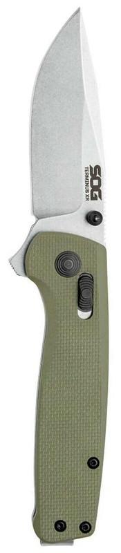 SOG Terminus XR G10 Olive Drab Folding Knife vertical