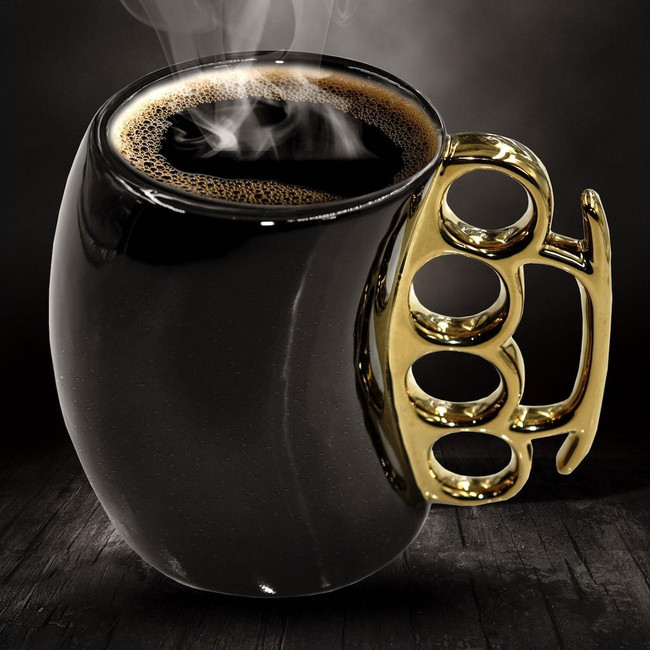 Caliber Gourmet Black And Gold Brass Knuckle Mug