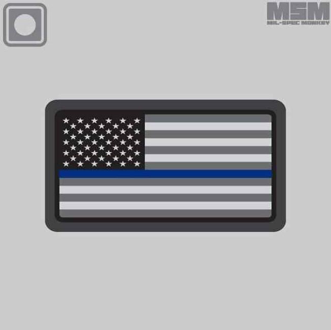 Mil-Spec Monkey US Flag PVC Mini Thin Blue Line Patch USFLAGPVCMINITB