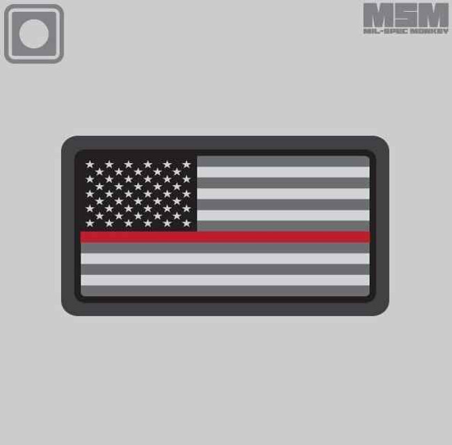 Mil-Spec Monkey US Flag PVC Mini Thin Red Line Patch USFLAGPVCMINITHINRED