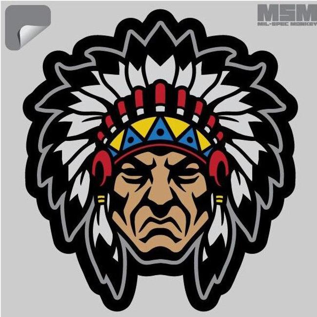 Mil-Spec Monkey Native American Warrior Head 1 Decal - Only $1.25 - LA Police Gear