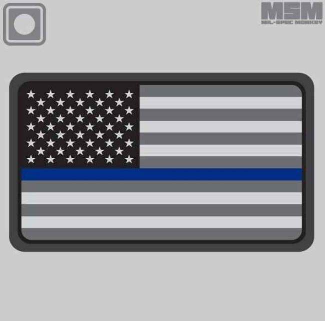 Mil-Spec Monkey US Flag PVC Thin Blue Line Patch USFLAGPVCTHINBLUE