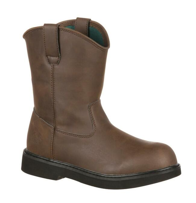 """Georgia Boot Little Kid's 7"""" Brown Pull-On Boot"""