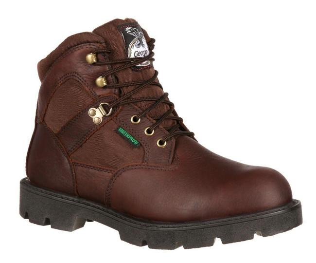 """Georgia Boot Homeland 6"""" Brown Waterproof Steel Toe Work Boot"""