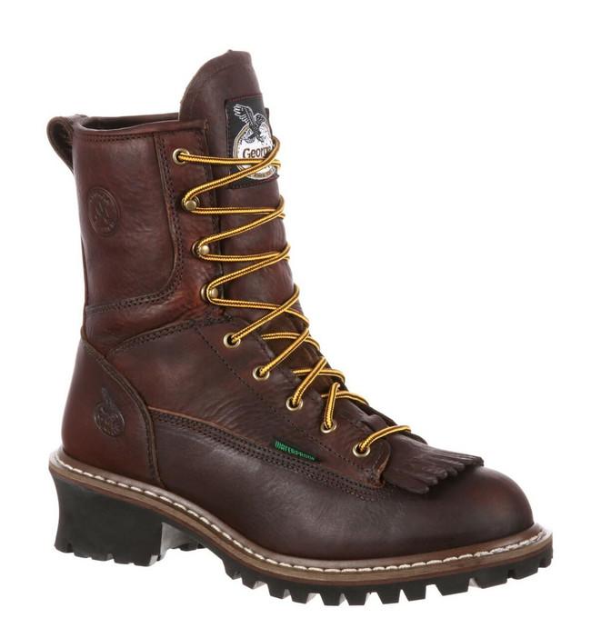 """Georgia Boot Logger 8"""" Brown Waterproof Boot"""