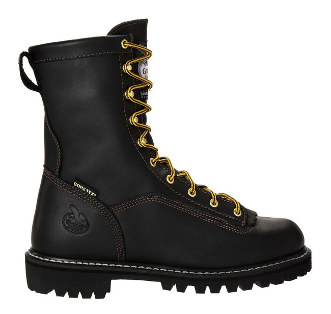 """Georgia Boot Loggers 8"""" Black Waterproof Gore-Tex Insulated 200G Lace-To-Toe Boot"""