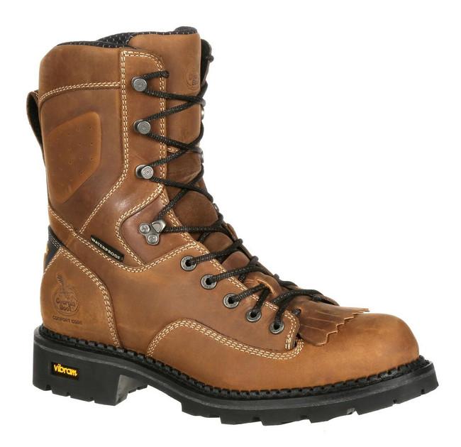 "Georgia Boot Logger 8"" Brown Waterproof Comfort Core Composite Toe Boot"