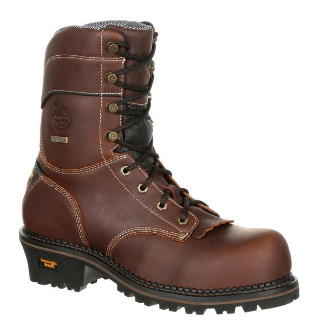 """Georgia Boot Logger 9"""" Brown Waterproof AMP LT Composite Toe Boot"""
