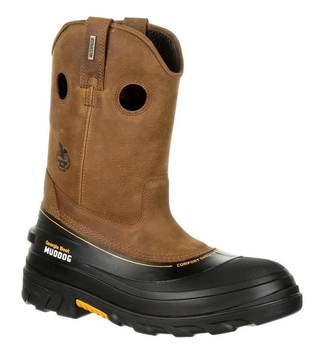 "Georgia Boot MudDog 11"" Brown Waterproof Composite Toe Wellington Boot"